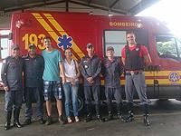 6º Pelotão recebe visita de jovem resgatado em cachoeira
